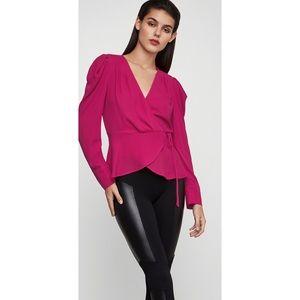 BCBGMaxAzria Hot Pink Wrap Blouse